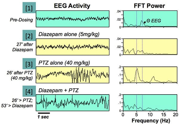 Sub-convulsant dose of pentylenetetrazole (PTZ) increases low-frequency EEG power at 5 Hz for several hours after administration.