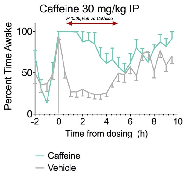 Caffeine increases the percent time awake in rats.