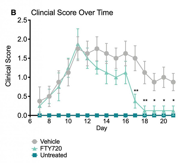 Body-weight and clinical scores of untreated, vehicle-treated and FTY720-treated mice in the EAE model.