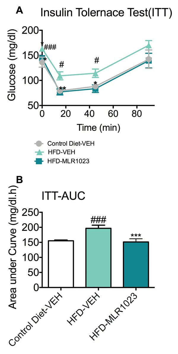 Blood glucose changes of mice responding to an exogenous insulin challenge.