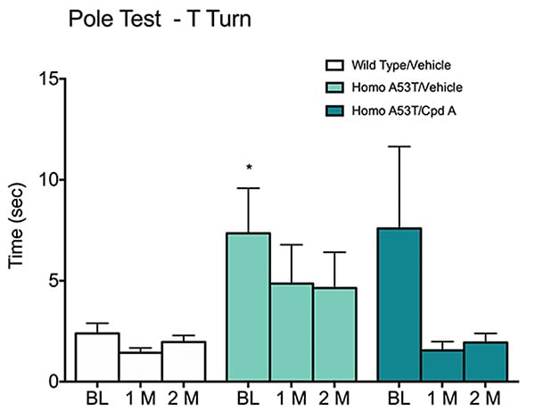 Time taken for Homozygous type A53T alpha-synuclein transgenic or wild-type mice to complete the pole test.
