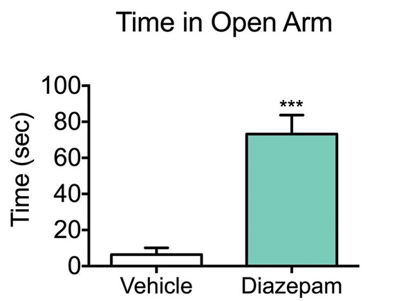 Diazepam treatment increases the time spent in the open arm of the elevated plus maze when compared to control sprague dawley rats.